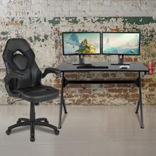 Black Gaming Desk and Black Racing Chair Set with Cup Holder, Headphone Hook & 2 Wire Management Holes