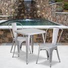 "Commercial Grade 23.75"" Square Silver Metal Indoor-Outdoor Table Set with 2 Stack Chairs Product Image"