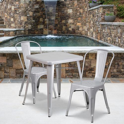 "Commercial Grade 23.75"" Square Silver Metal Indoor-Outdoor Table Set with 2 Stack Chairs"