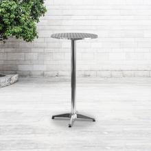 """See Details - 23.25"""" Round Aluminum Indoor-Outdoor Bar Height Table with Flip-Up Table"""