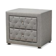 See Details - Baxton Studio Lepine Modern and Contemporary Gray Fabric Upholstered 2-Drawer Wood Nightstand