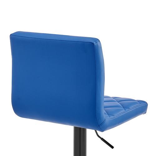 Duval Adjustable Blue Faux Leather Swivel Bar Stool
