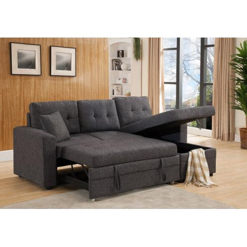 8008 GRAY Linen Pull Out Sectional Sofa
