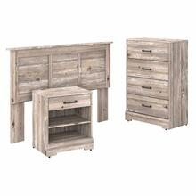 See Details - Full/Queen Size Headboard, Chest of Drawers and Nightstand Bedroom Set, Barnwood