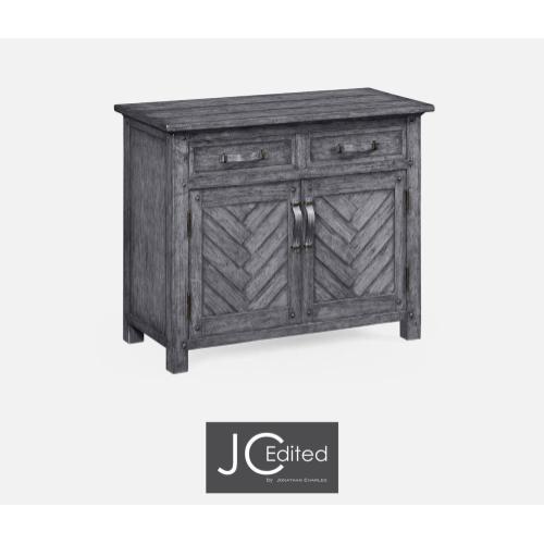 Plank antique dark grey cabinet or dresser base with strap handles