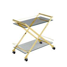 """See Details - Two Tier 31"""" Rolling Bar Cart, Gold"""