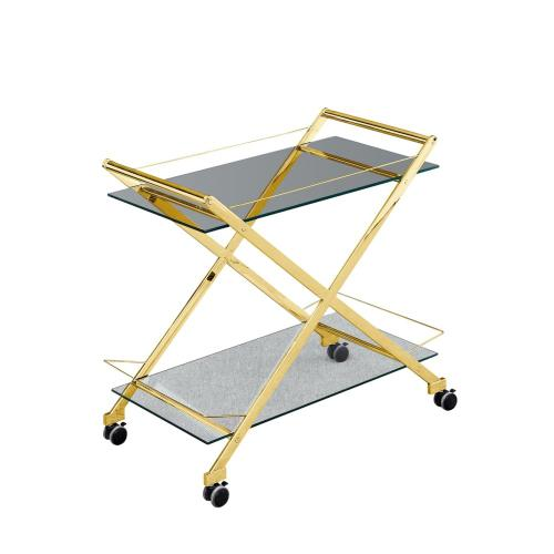 """Two Tier 31"""" Rolling Bar Cart, Gold"""
