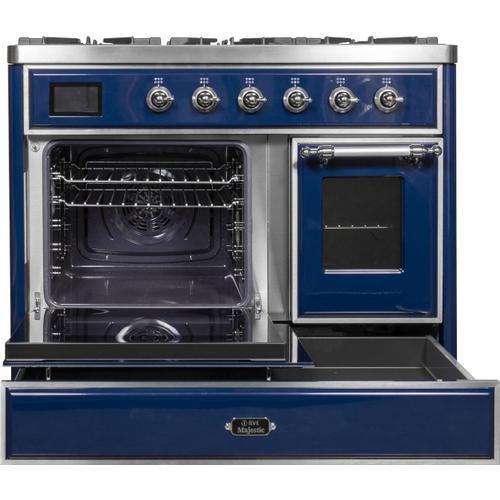 Majestic II 40 Inch Dual Fuel Liquid Propane Freestanding Range in Blue with Chrome Trim