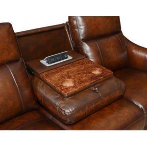Akari Dual-Power Recliner Sofa w/Dropdown Console