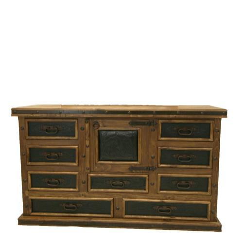 Door Dresser W/Tooled Leather