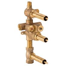 3-Handle Thermostatic Rough Valve with 2-Way Diverter - Shared Function - No Finish