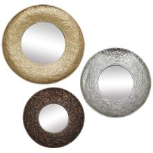 REGINA MIRROR- SET OF 3  Gold Silver and Bronze Finishes on Metal Frame  Plain Glass Beveled Mirr