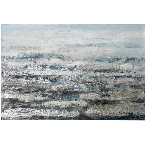 Style Craft - Silver Solvent  59in X 39in  Original Heavy Textured Hand Painted Abstract Stretched Canvas