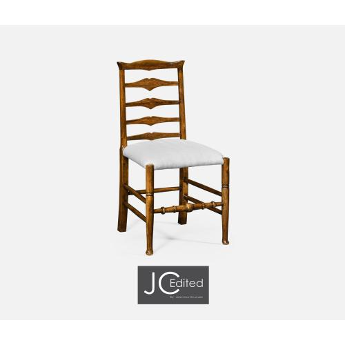 Country Walnut Ladder Back Side Chair, Upholstered in COM