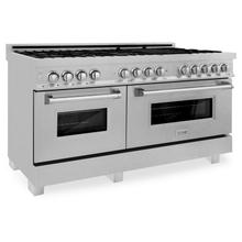 """See Details - ZLINE 60"""" 7.4 cu. ft. Dual Fuel Range with Gas Stove and Electric Oven in DuraSnow® Stainless Steel (RAS-SN-60) [Color: Durasnow®]"""
