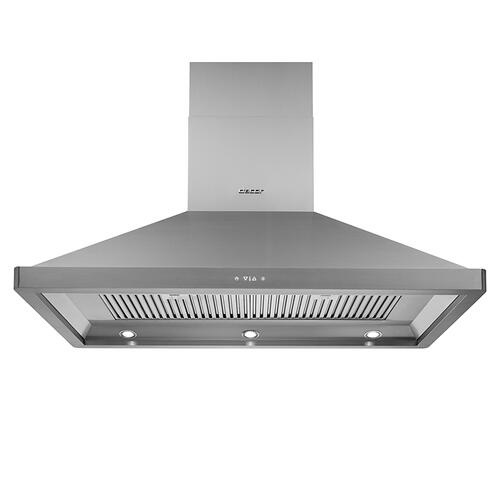 "36"" Chimney Island Hood, Silver Stainless Steel"