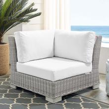 Conway Sunbrella® Outdoor Patio Wicker Rattan Corner Chair in Light Gray White