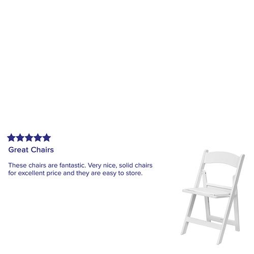 Flash Furniture - Kids White Resin Folding Chair with White Vinyl Padded Seat