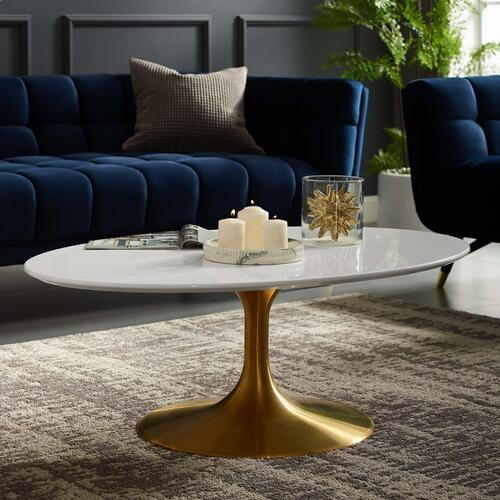 """Lippa 42"""" Oval-Shaped Wood Top Coffee Table in Gold White"""