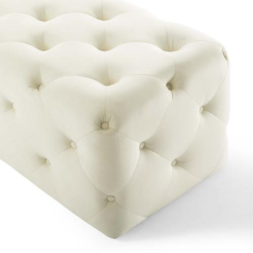 """Amour 72"""" Tufted Button Entryway Performance Velvet Bench in Ivory"""