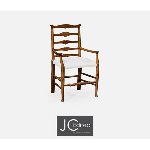 Country walnut ladder back armchair (COM)