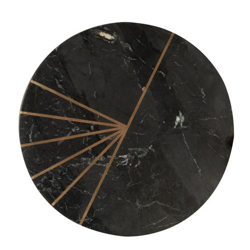 Product Image - Iron Side Table w Marble Top & Brass Inlay