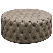 View Product - FRANKLIN OTTOMAN  Tufted Distressed Gray Faux Leather on Wood Frame