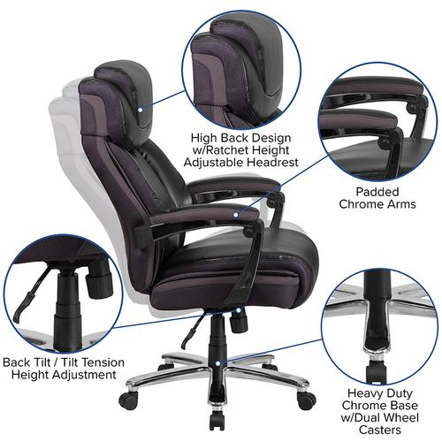 Gallery - HERCULES Series Big & Tall 500 lb. Rated Black LeatherSoft Executive Swivel Ergonomic Office Chair with Adjustable Headrest