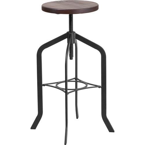 "30"" Barstool with Adjustable Wood Seat"