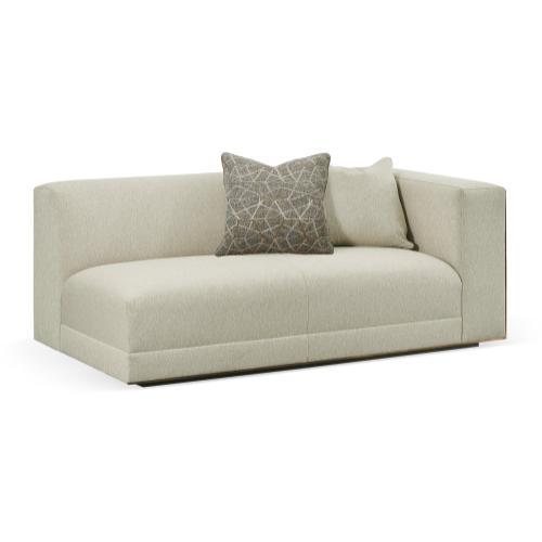 "70 1/2"" Geometric Dark Mocha Oak Right Two-Seat Sofa Sectional, Upholstered in Lennox"