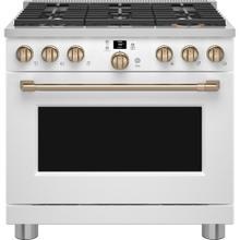 "See Details - Café 36"" Smart All-Gas Commercial-Style Range Matte White"