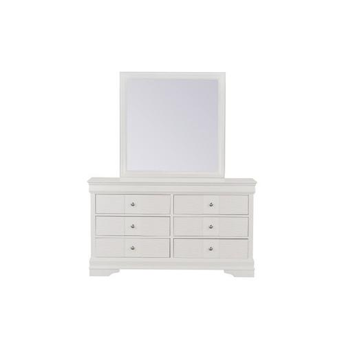 Wave Dresser W/Mirror, White