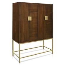 See Details - BRADFORD CABINET  Walnut Finish on Hardwood with Brass Finished Metal Base  4 Door
