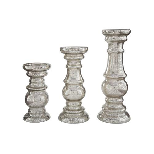 Candle Holder Set Silver Finish