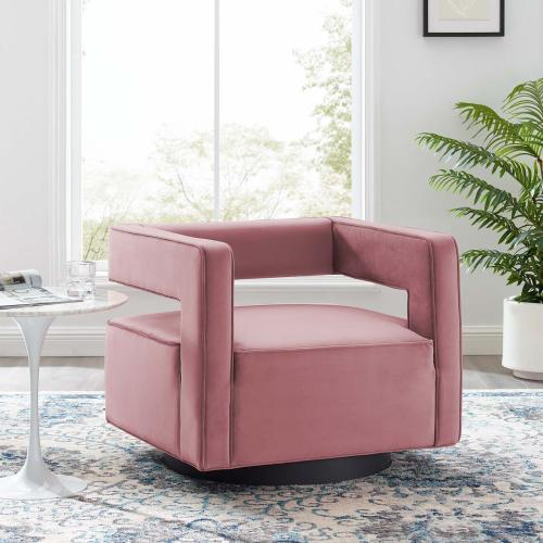 Modway - Booth Performance Velvet Swivel Armchair in Dusty Rose