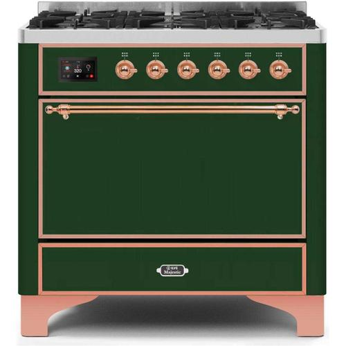 Product Image - Majestic II 36 Inch Dual Fuel Natural Gas Freestanding Range in Emerald Green with Copper Trim