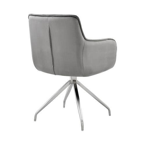 Armen Living - Noah Dining Room Accent Chair in Grey Velvet and Brushed Stainless Steel Finish