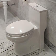 Floor-standing elongated one-piece porcelain toilet with siphonic single flush system (1.28gpf), include a set cover and tank .