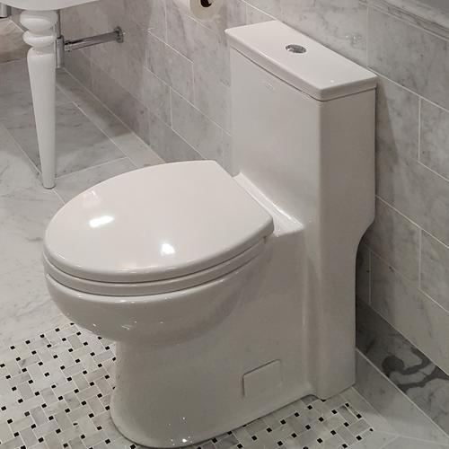 Lacava - Floor-standing elongated one-piece porcelain toilet with siphonic single flush system (1.28gpf), include a set cover and tank .