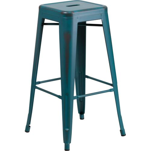 """Commercial Grade 30"""" High Backless Distressed Kelly Blue-Teal Metal Indoor-Outdoor Barstool"""