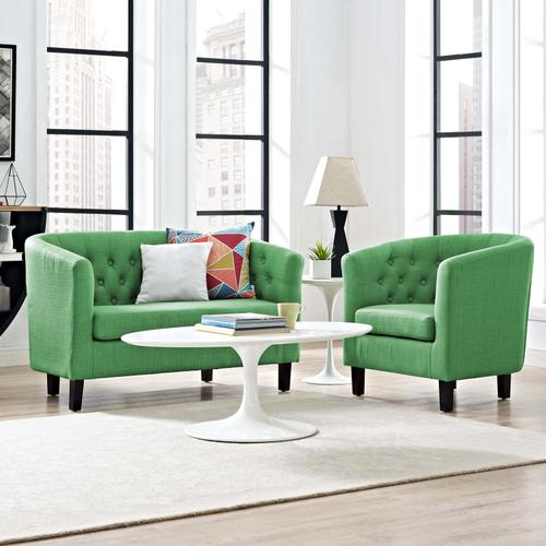 Prospect 2 Piece Upholstered Fabric Loveseat and Armchair Set in Green