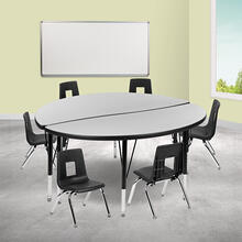 """47.5"""" Circle Wave Collaborative Laminate Activity Table Set with 12"""" Student Stack Chairs, Grey\/Black"""