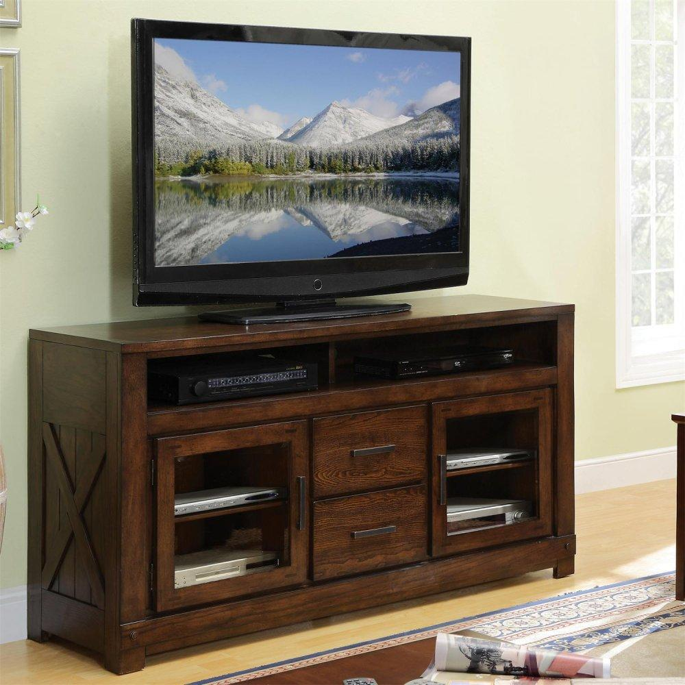 See Details - Windridge - Glass Door TV Console - Sagamore Burnished Ash Finish