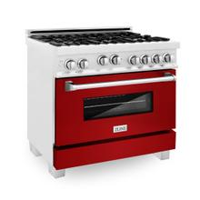 ZLINE 36 in. Professional 4.6 cu. ft. 4 Gas on Gas Range in DuraSnow® Stainless Steel with Red Gloss Door (RGS-RG-36)