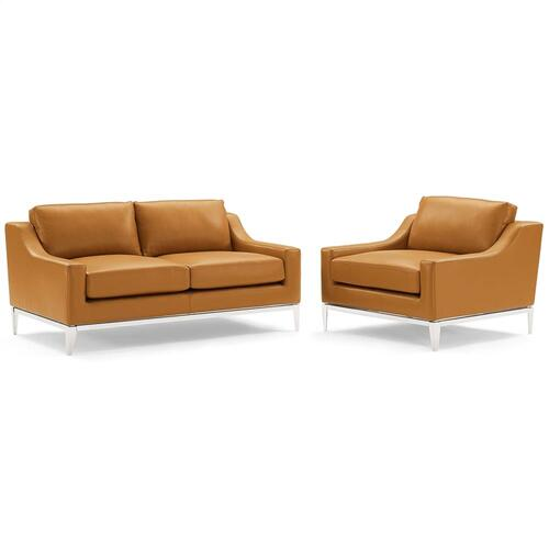 Modway - Harness Stainless Steel Base Leather Loveseat & Armchair Set in Tan