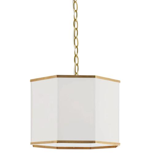 Product Image - 1lt Pendant, Agb W/ Wh Shade and Gld Trim