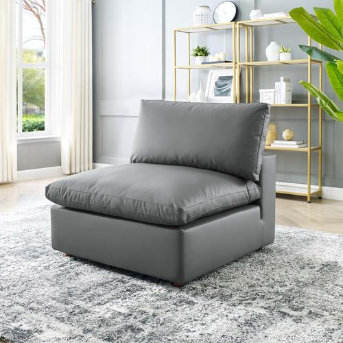 Modway - Commix Down Filled Overstuffed Vegan Leather Armless Chair in Gray