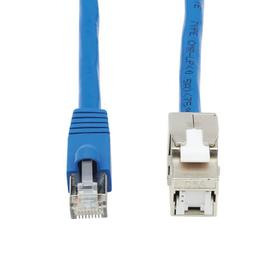 Cat6a Keystone Jack Cable Assembly - Shielded, PoE+, RJ45 M/F, 18 in., Blue