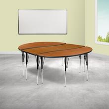 """See Details - 3 Piece 86"""" Oval Wave Flexible Oak Thermal Laminate Activity Table Set - Standard Height Adjustable Legs"""