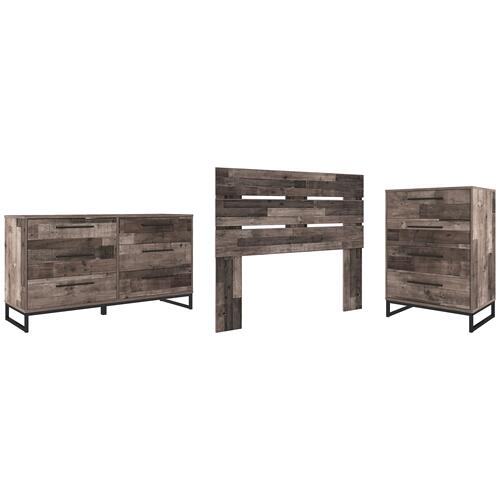 Full Panel Headboard With Dresser and Chest